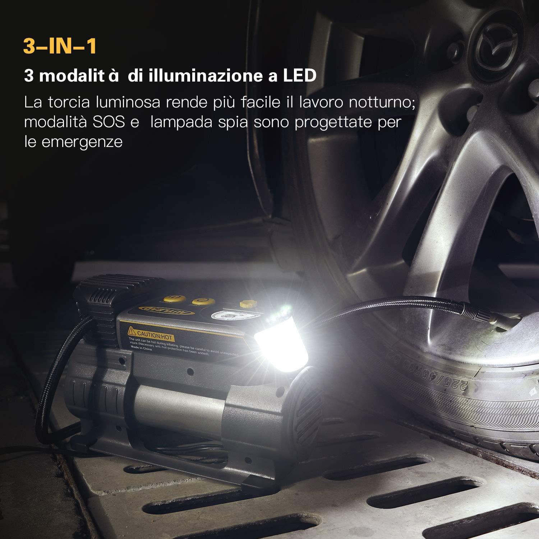 Palle 12V compressore dAria con misuratore Digitale Moto C2 4 ugelli//adattatori per Auto Torcia elettrica a LED AUTLEAD Compressore Portatile per Auto