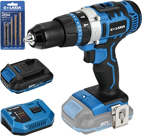 GALAXIA 20V Lithium Ion 2-Speed Cordless Drill Driver with Variable Speed, Max Torque 50N.m , 21 3 Clutch, 1 2 inch Keyless Chuck, Built-in LED, Metal Belt Clip, 2.0Ah Battery 1 Fast Charger