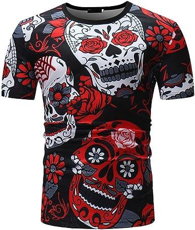 Camisetas Calaveras Hombre LHWY, Camisetas De Cuello Redondo con Estampado De 3D Camisetas Slim Casuales Personalidad Verano: Amazon.es: Ropa y accesorios