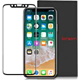 iPhone x Screen Protector, [1 Pack] Bersem HD Premium Tempered Glass, [Full Coverage] Bubble-Free, Dustfree Screen Protector for Apple iPhone X/iPhone 10 [5.8inch] (Black)