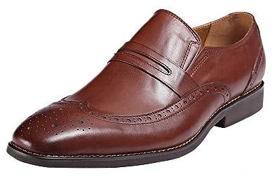 Amazon.com | ROYAL WIND Men's Brown Embossed Wingtip Slip-on Dress ...