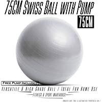 HCE Yoga Ball 75cm Extra Thick Exercise Balancing Ball Chair Stability Swiss Pilates Birthing Ball, Slow-Deflate Slip-Resistant Anti-Burst Heavy-Duty 300lbs Max Best for Home & Gym Workout - Free Pump