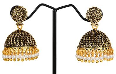 4d5ba5d50 Image Unavailable. Image not available for. Colour: Samyra Metal Black  Alloy Elegant Jhumka ...