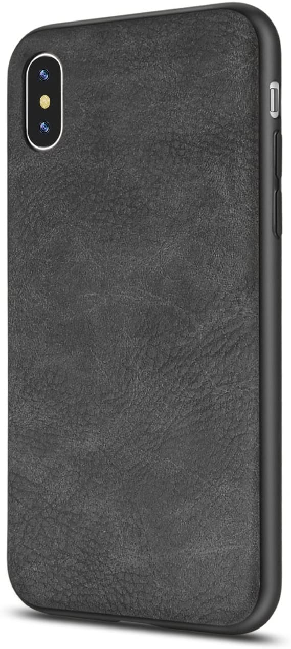 iPhone X Case/iPhone Xs Case Salawat Slim Shock Proof Phone Cover Lightweight Premium PU Leather TPU Bumper PC Protection for iPhone X iPhone Xs 5.8inch(Black)