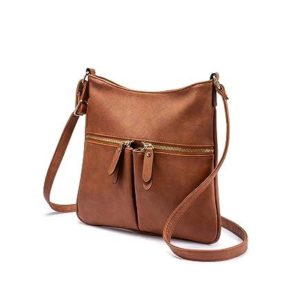 5f7a1a97029f8 Umhängetasche Damen Schultertasche Crossover Tasche Handtasche Klein  Kunstleder für Frauen Braun