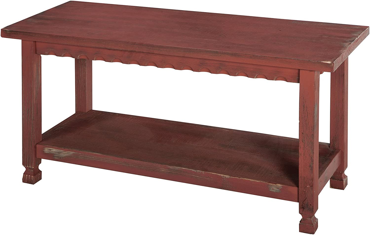 Rustic Cottage Bench with 1 Shelf, Red Antique