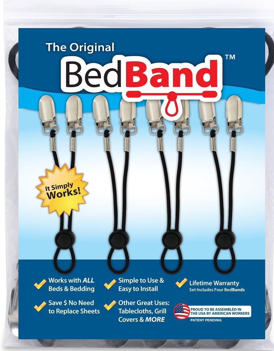 The ORIGINAL Bed Band - Adjustable Fastener/Holder/Strap/Suspender/Gripper for Your Sheets (2 Pack - Black)