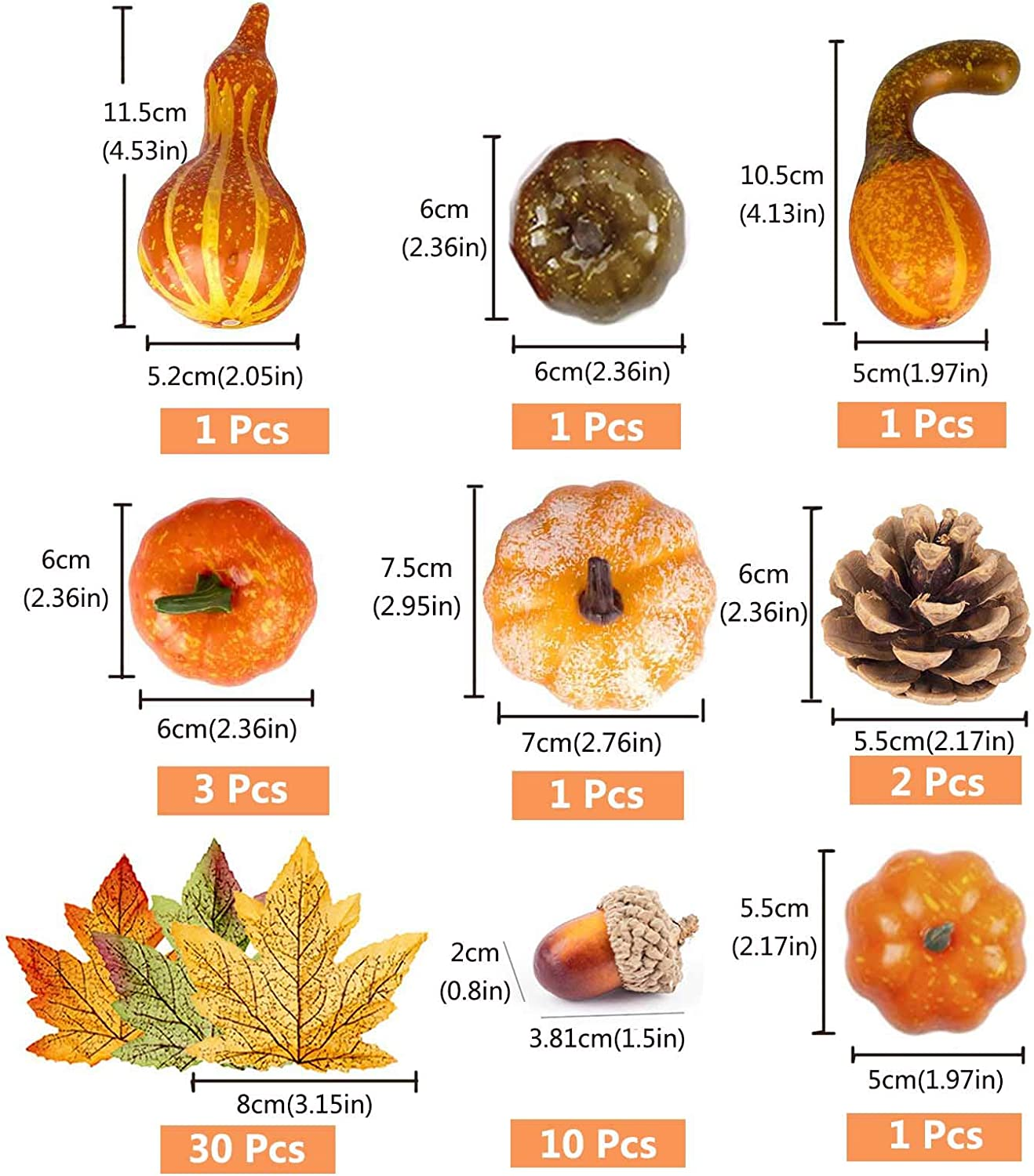 Acorns and Pine Cones for Thanksgiving Halloween Home Party Decoration CreepyParty Artificial Pumpkins Wreath Autumn Fall Harvest Set with Maple Leaves 50 Pcs