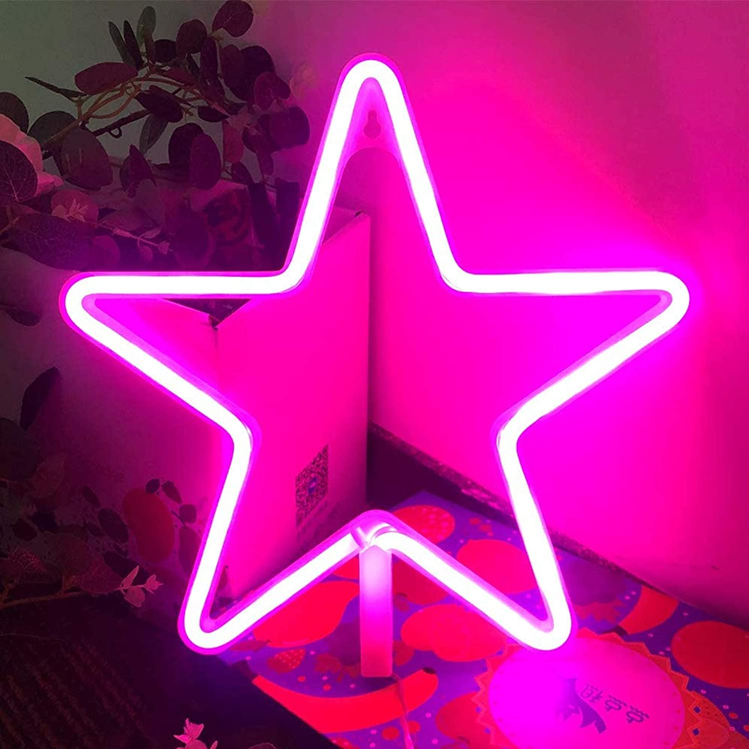 LED Neon Signs for Wall Decor,USB or Battery Decor Light,Neon Light for Bedroom,LED Neon Decorative Lights for Christmas,Party,Girls Living Room (Star - Pink)