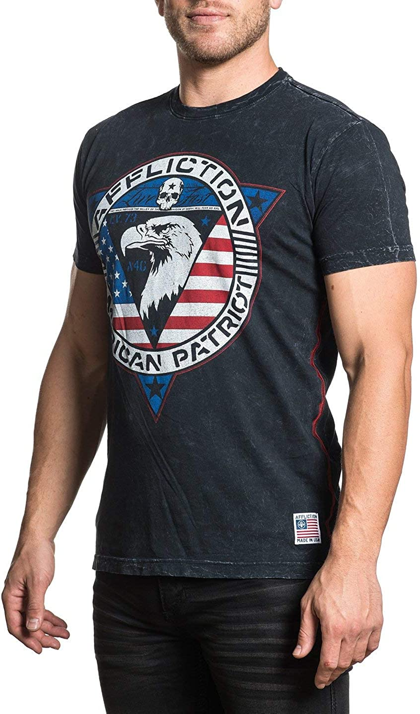 Affliction Mens Patriot Black Lava Wash Short Sleeve Tee