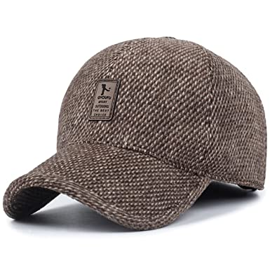 17b90c809626e3 MRACSIY Mens Baseball Cap Winter Caps Brown 57-61cm: Amazon.co.uk ...