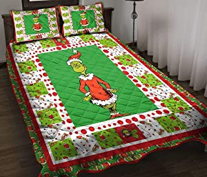 Christmas Grinch Quilt - Organge and Red - Green and Blue Quilt Quilt King Queen Twin Size - Birthday Thanksgiving for Dad Mom Husband Wife Kids Son Daughter