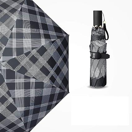 Sombrilla Ligero Paraguas Unisex Plegable Moda Tela Escocesa protección UV Paraguas Protector Solar THANSANDAU