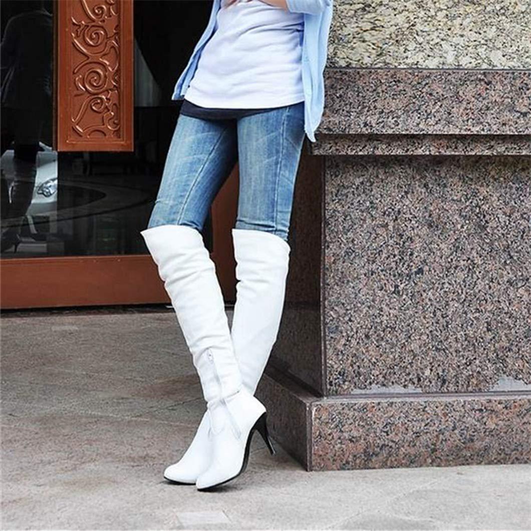 Frauen Stiefel Mode Flock Reißverschluss Herbst Winter Winter Winter Stiefel Klassische High Heel Overknee Stiefel Weibliche 833b25