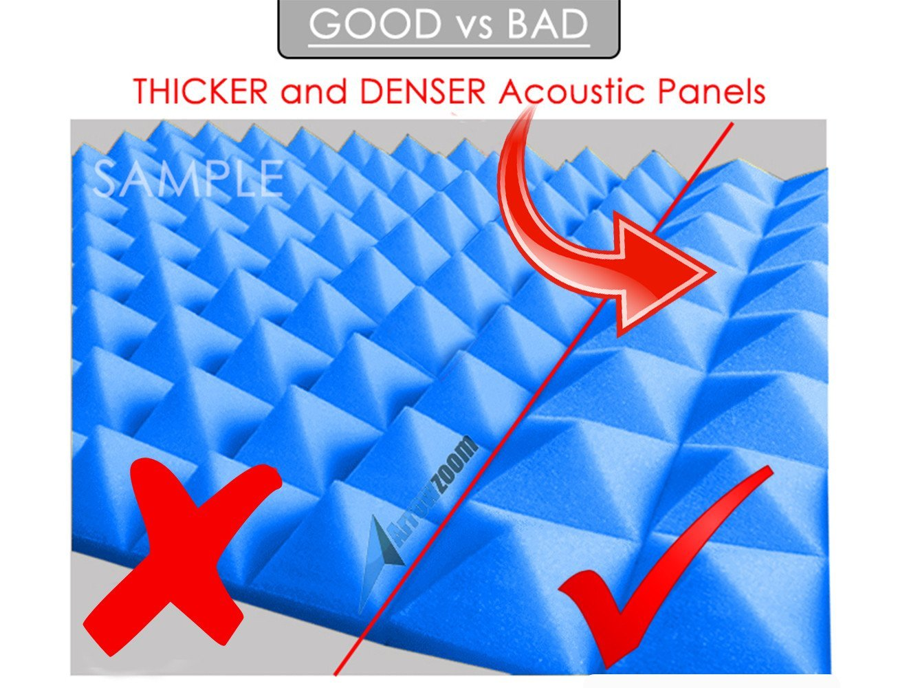 Arrowzoom New 1 Pack of 2 Meter (78.7 X 59 X 1.2 Inches) Convoluted Foam Soundproofing Insulation Egg Crate Roll Acoustic Wall Foam Padding Studio Foam Sheet Tiles AZ1132 (BLACK) by Arrowzoom Egg Crate Acoustic Foam (Image #7)