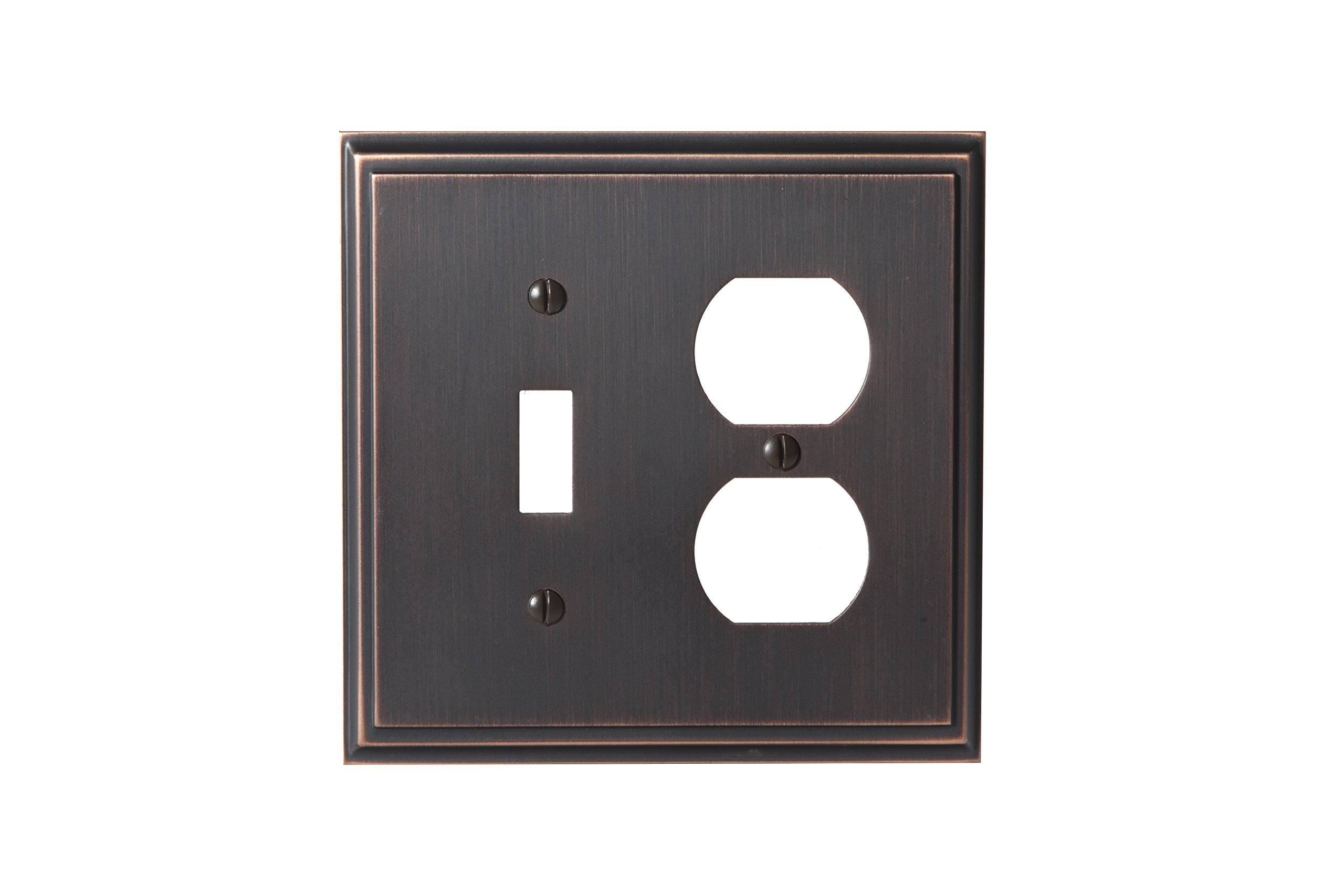 Amerock BP36524ORB Mulholland 1 Toggle, 1 Receptacle Wall Plate - Oil-Rubbed Bronze