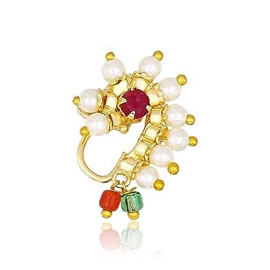 Buy Meenaz Maharashtrian Traditional Pearl Temple Jewellery Moti