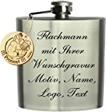 Flachmann Edelstahl mit Wunschgravur, Wunschtext, Grafik oder Logo