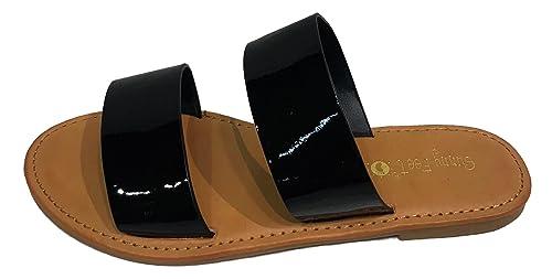 bc96c3da2 Sunny Feet Coastline-64S Women Open Toe Slip On Double Band Flip Flops  Slide Flat
