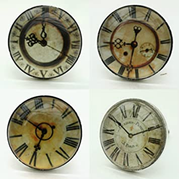 set of four glass clock face drawer knobs pulls shabby vintage chic
