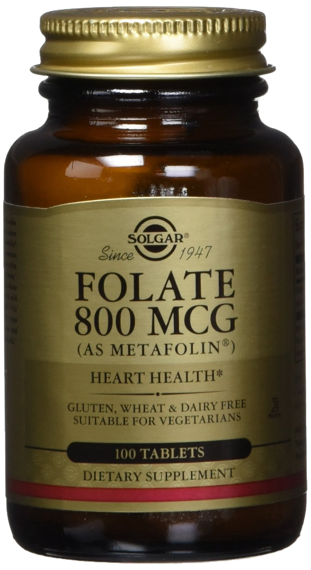 Solgar – Folate (as Metafolin) 800mcg Tablets, 100 Count – Supports Heart and Nervous System Health