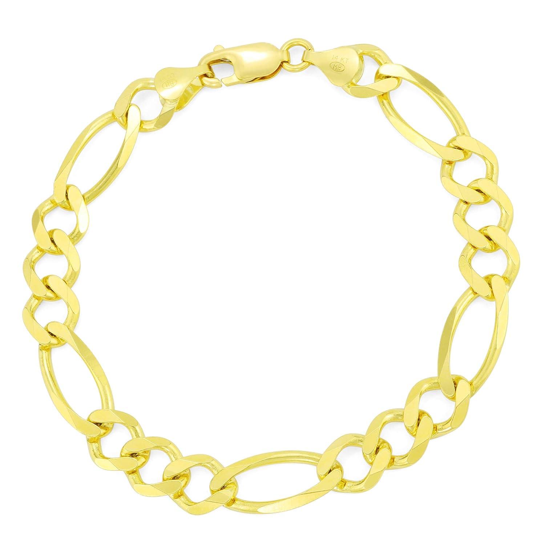 1db97fa75 Amazon.com: Men's 14K Yellow Gold Solid 8.5mm Figaro Link Chain Bracelet,  8