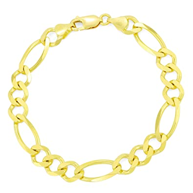 3488bcd7f Image Unavailable. Image not available for. Color: Men's 14K Yellow Gold  Solid 8.5mm Figaro Link Chain Bracelet ...