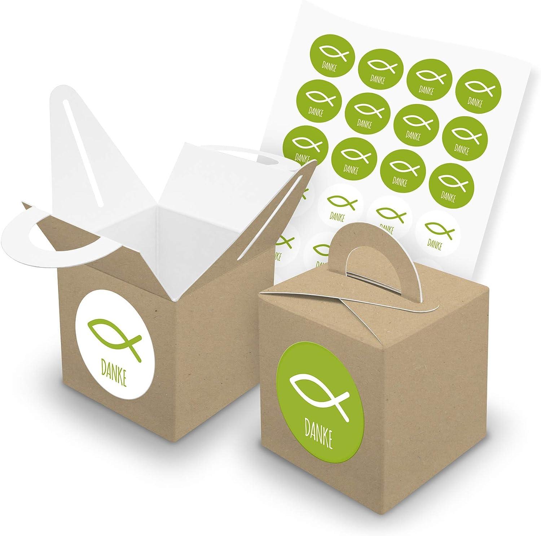 itenga Set Fisch 24x W/ürfelbox mit Griff inkl Aufkleber Sticker f/ür Gastgeschenke Taufe Kommunion Konfirmation Pink, Karton Braun