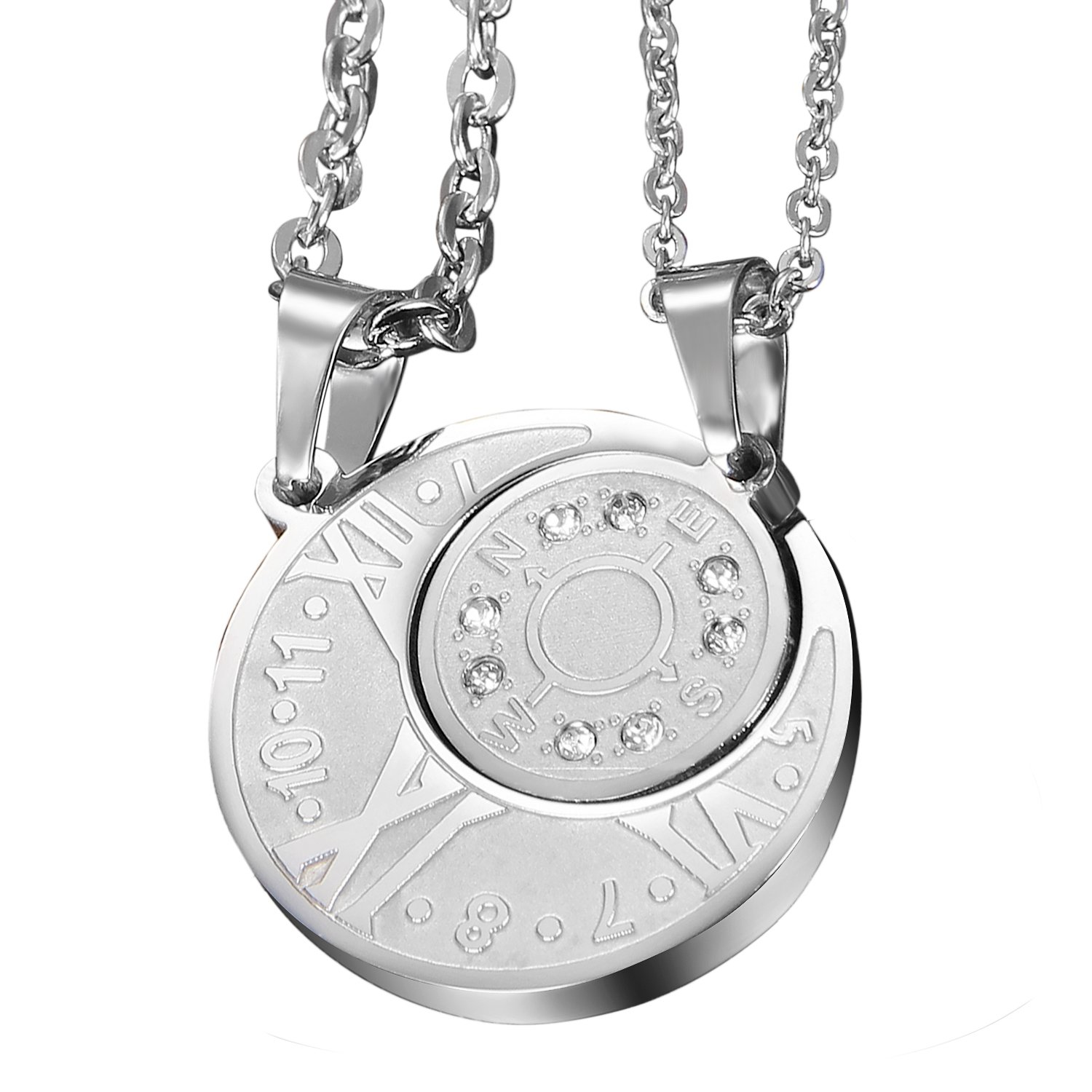 2pcs Couples Stainless Steel Vintage Numeral Compass Puzzle Necklace with Chain for Oidea O0070054-CA