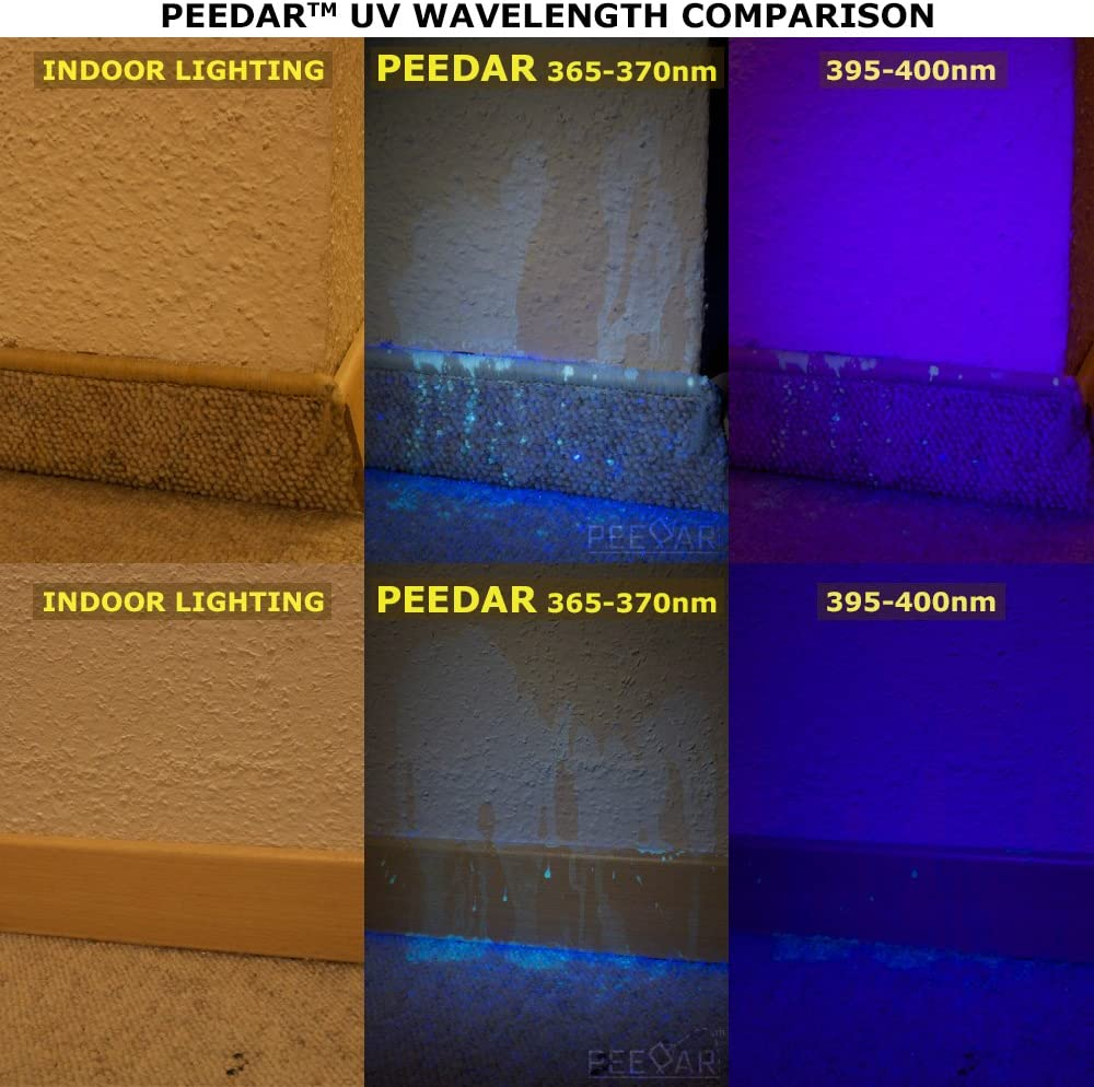 Pet Urine Detector 365nm Black Light Flashlight Peedar Precision Uv Led Pee Finder Tool Locate Cat Dog Animal Stains Uses Hotel Inspection Security Marks 365nm 370nm Finds Invisible Urine Fast Home Improvement