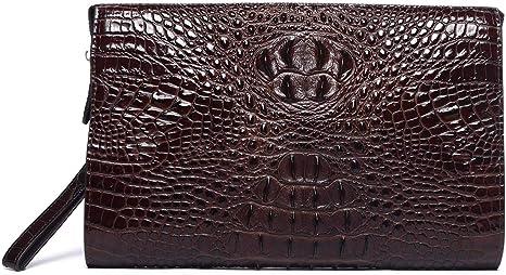Grande Portefeuille Pochette Homme de Cuir Vintage R/étro Sac /à Main Clutch Poignet Porte pour Telephone Carte Bancaire Credit Chequier Monnaie