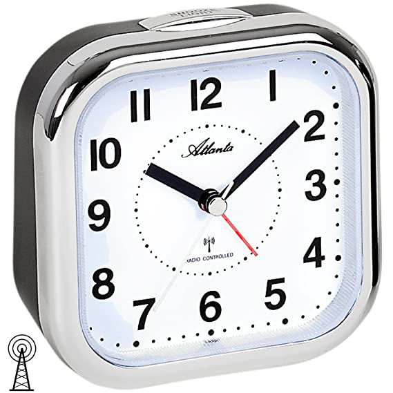 Atlanta - Reloj despertador grande XL para personas mayores, con números analógicos plateados 1829-19: Amazon.es: Relojes