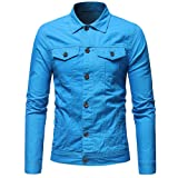 Hemlock Men Denim Jacket Coats Ziipper Cardigan Trundown Jean Coats Sweatshirt Pullover Tops Outwear
