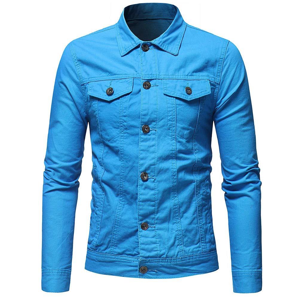 LIKESIDE Men's Autumn Winter Button Solid Color Vintage Denim Jacket Tops Blouse Coat