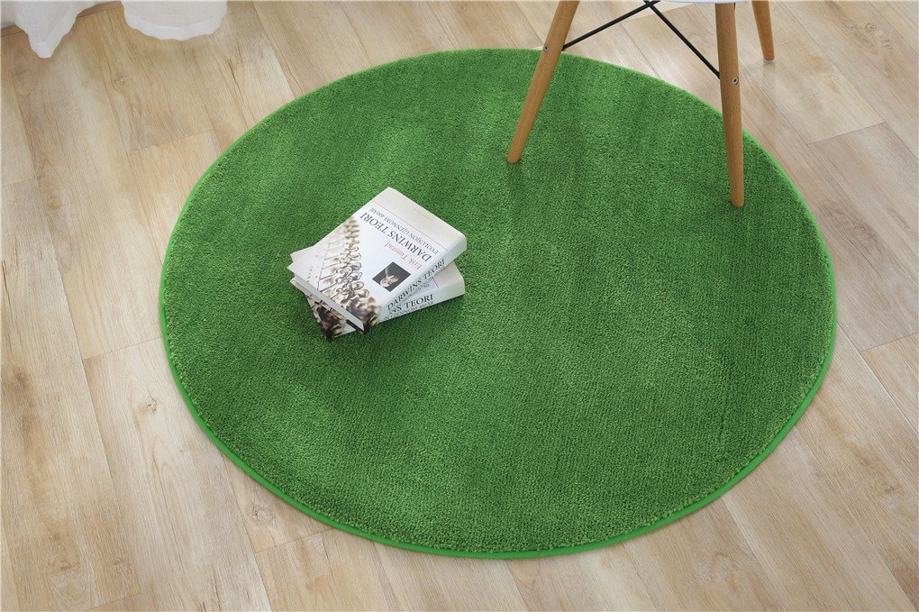 KUPARK Soft Rug Carpet Round Area Rugs Floor Mat Home Decoration Carpets Kids Play Rug, Dia: 90cm, Green