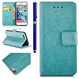 FESELE iPhone 6 Case iPhone 6S 4.7 Wallet Case Synthetic PU Leather Wind Chimes Feather PU Leather Case Book Style Magnetic Closure PU Leather Wallet Elegant Classic Flip Cover Case Card Slot and Banknotes Pocket with Hand Strap For iPhone 6/6S + 1 x Blue Stylus Pen-Green