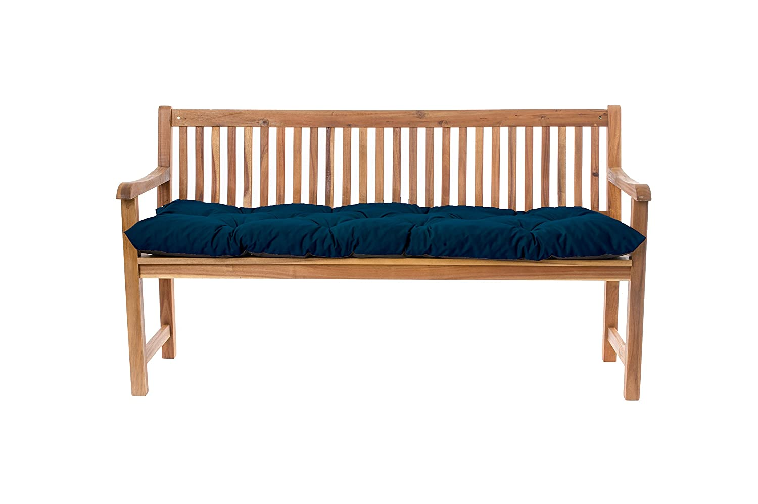 Gardenista Outdoor Garden 2 Seater Bench Cushion 110x45x7cm in Water Resistant Fabric (Moroccan Blue). Made in the UK. Tufted Cushions Collection