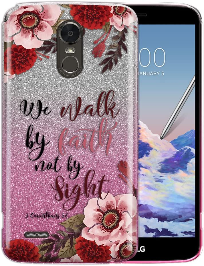 FINCIBO Case Compatible with LG Stylo 3 Stylus 3 LS777 / Stylo 3 Plus, Silver Pink Gradient 2 Tone Glitter TPU Protector Cover Case for LG Stylo 3 Stylus 3 - Christian 2 Corinthians 5:7