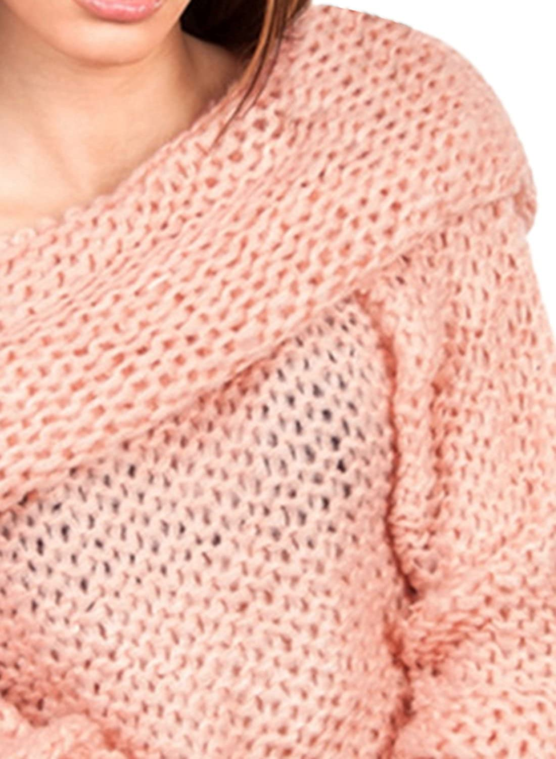 ACHICGIRL Women's Chunky Off Shoulder Long Sleeve Loose Knitted Sweater