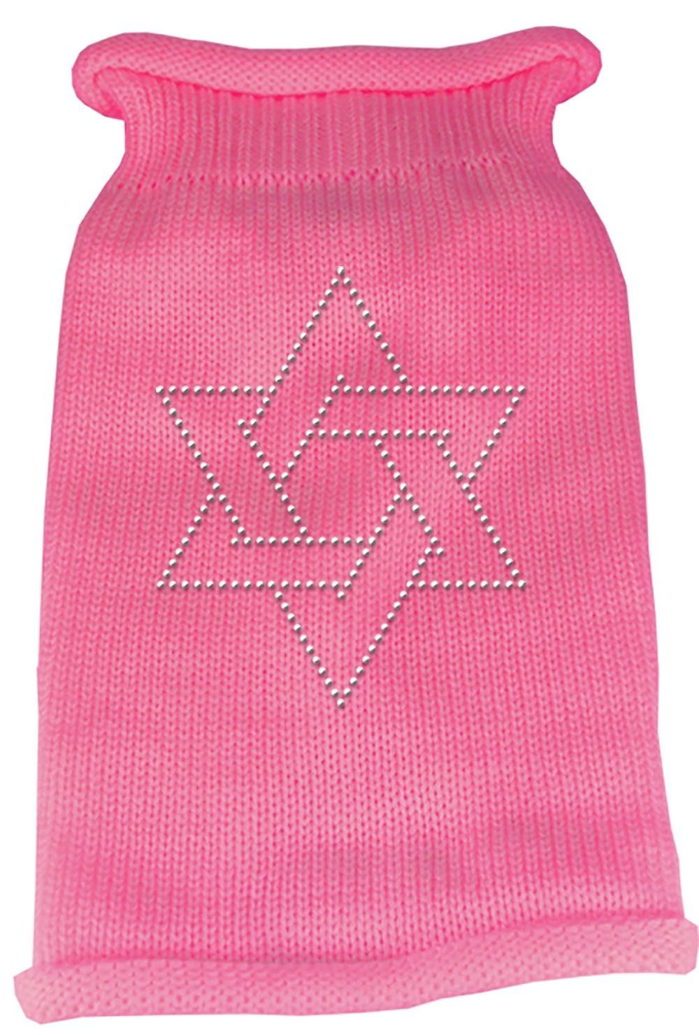 Mirage Pet Products Star of David Rhinestone Knit Pet Sweater, Medium, Pink