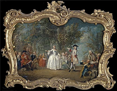 Flipart Charles Joseph Fiesta En Un Jardin Mediados Del 18 Century Oil Painting, 16 X 21 Inch 41 X 52 Cm ,printed On Perfect Effect Canvas ,this Art Decorative Canvas Prints Is Perfectly Suitalbe For Dining Room Gallery Art And Home Artwork And Gifts