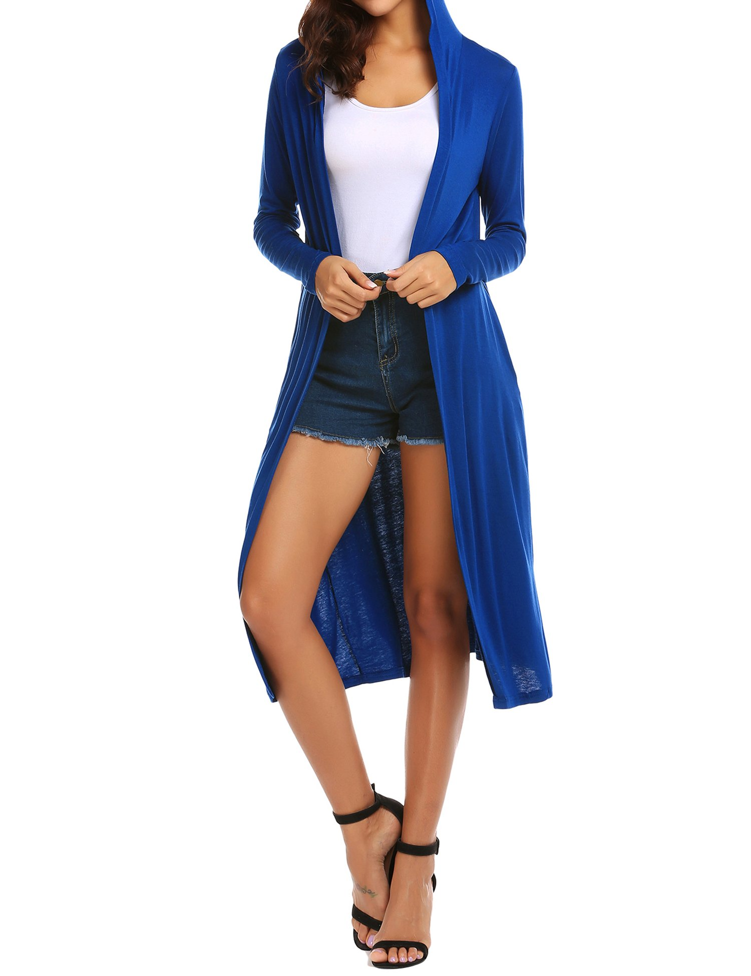 Beyove Women s Long Sleeve Waterfall Hoodies Open Front Maxi Cardigan  Sweater Navy Blue M ac30ae4da