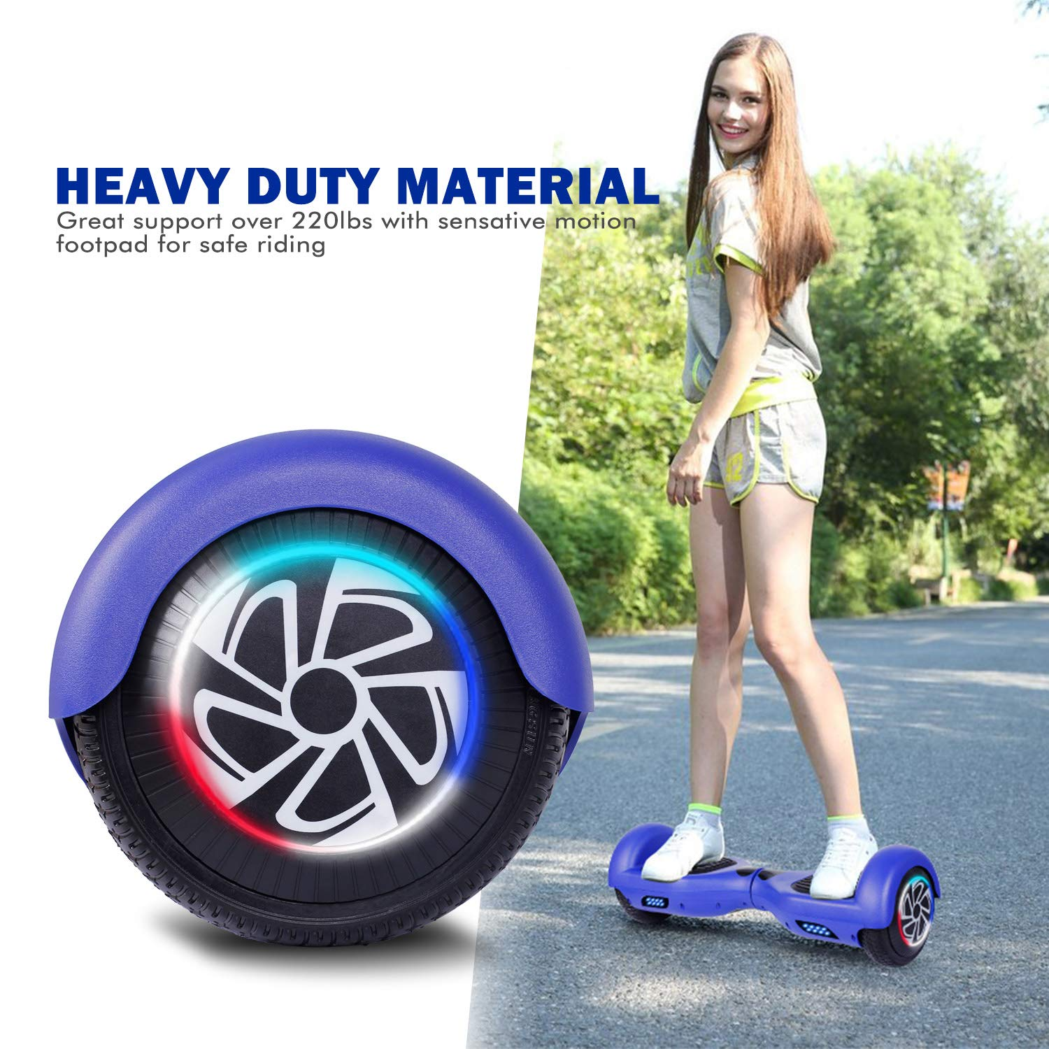 SISIGAD Hoverboard, Self Balancing Hoverboard, 6.5'' Two-Wheel Self Balancing Scooter, Smart Hover Board for Kids Gift, Adult Electric Scooter, with LED Lights and Free Carrying Bag UL2272 Certified by SISIGAD (Image #5)