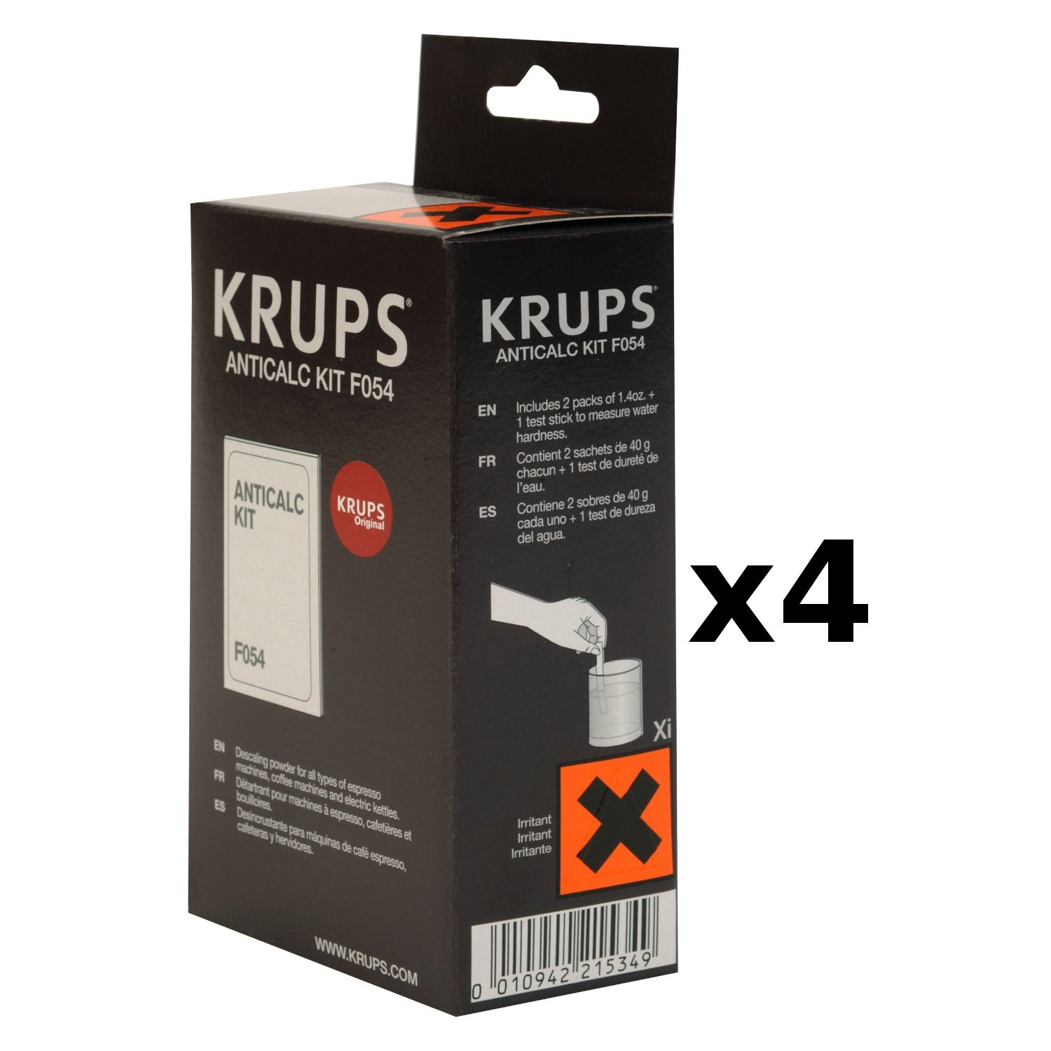 Krups Descaling Powder With Hard Water Test Kit, Set of 4 (Includes 8 packets) by KRUPS