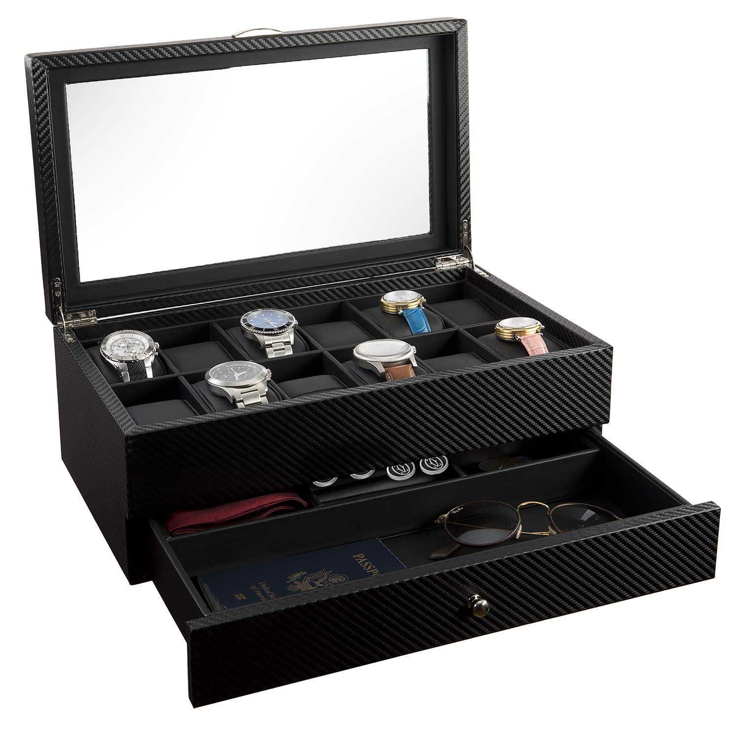 Watch Box- Display Case & Organizer for Men| First-Class Jewelry Watch Holder| 12 Watch Slots & Valet Drawer for Sunglasses, Rings, Phone| Sleek Black Color, Glass Top, Carbon Fiber, Faux Leather
