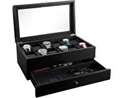 Watch Box- Display Case & Organizer For Men| First-Class Jewelry Watch Holder| 12 Watch Slots & Valet Drawer for Sunglasses,