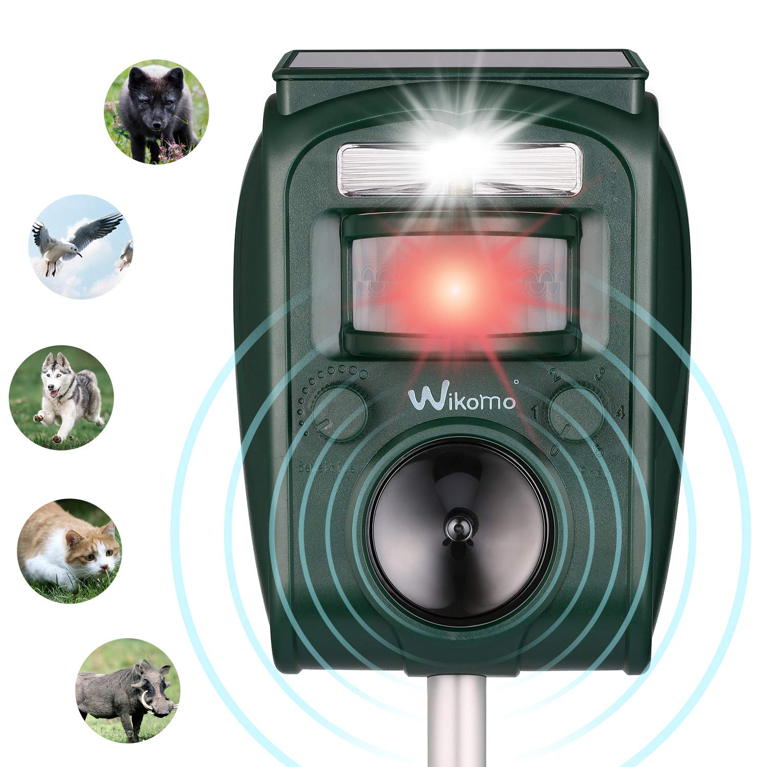 Solar Animal Repeller Ultrasonic Pest Control Repellent PIR Sensor Alarm with Ultrasonic Sound, Motion Sensor and Flashing Light Repellent for Cats, Dogs, Squirrels, Moles, Rats and Wild Animals …