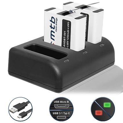2 Baterías (1250mAh) + Cargador triple (USB) para AABAT-001 / Para GoPro Hero 5, Hero 6 - compatible con todos los firmwares (V2.51+)- contiene cable ...