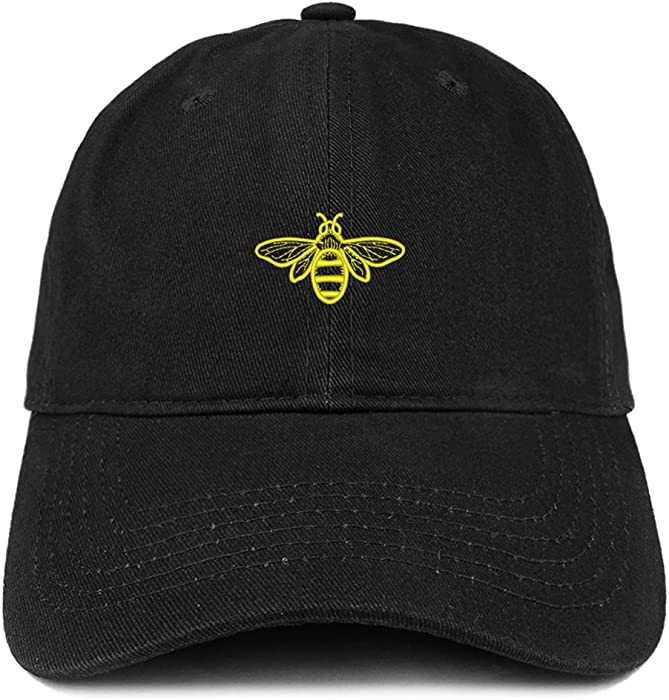 9cff657a24b69 Trendy Apparel Shop Bee Embroidered Brushed Cotton Dad Hat Cap - Black