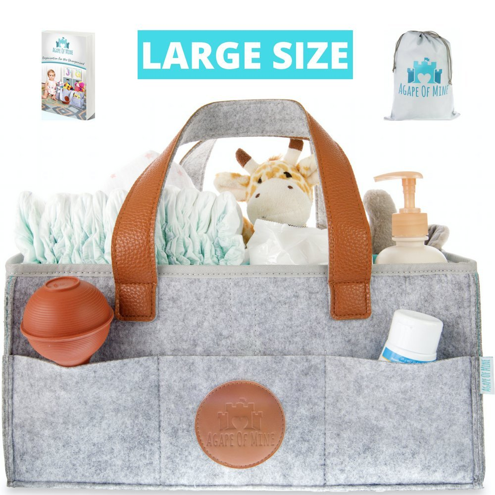 Baby Diaper Caddy Organizer - Large Waterproof Great for Changing Tables, Nursery Storage Bins and Baby Travel for All Diaper Sizes, Wipes, and Toys - Luxury Baby Shower Basket Agape of Mine